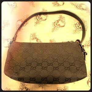 Black Canvas Gucci Mini Bag w/ Asymmetrical Strap